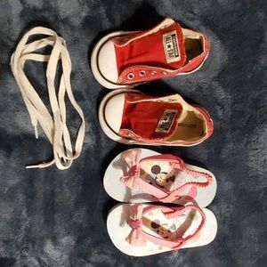Red converse Toddler shoes and minnie mouse sandal